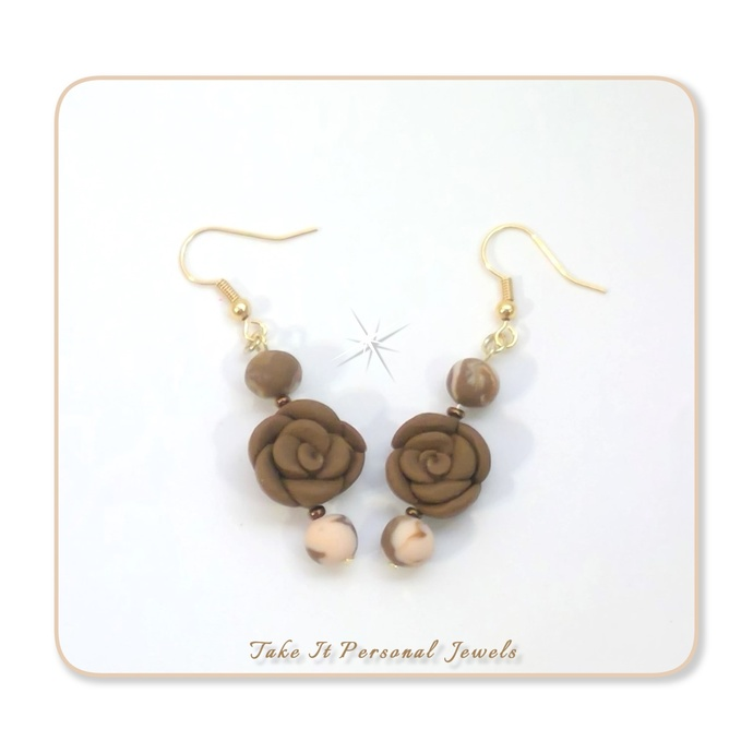 Handformed Pink Brown Flower Jewelry Set Necklace Earrings Valentine's Day Gift