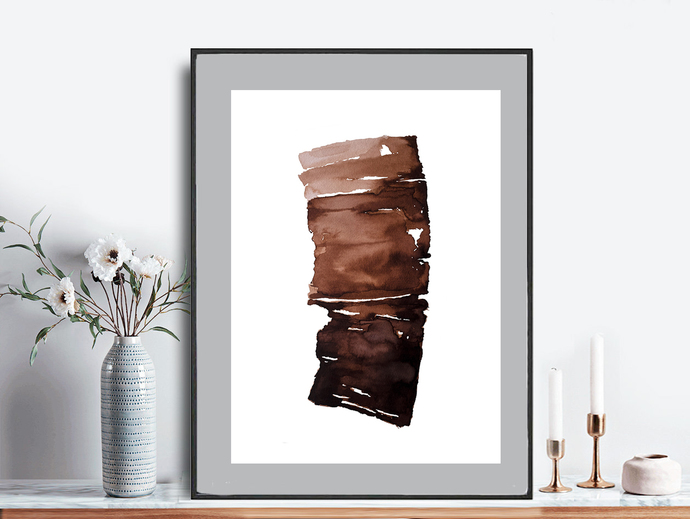 Printable brown contemporary art, rustic home decor, wall art abstract, large