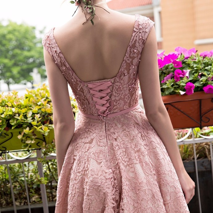 Beautiful Pink Lace Short Bridesmaid Dress, Tea Length Prom Dress