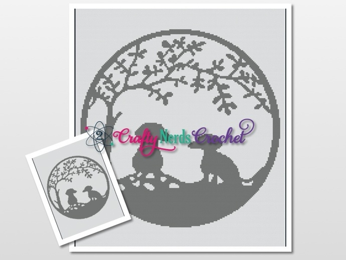 Dogs and Tree Pattern Graph With Single Crochet Written