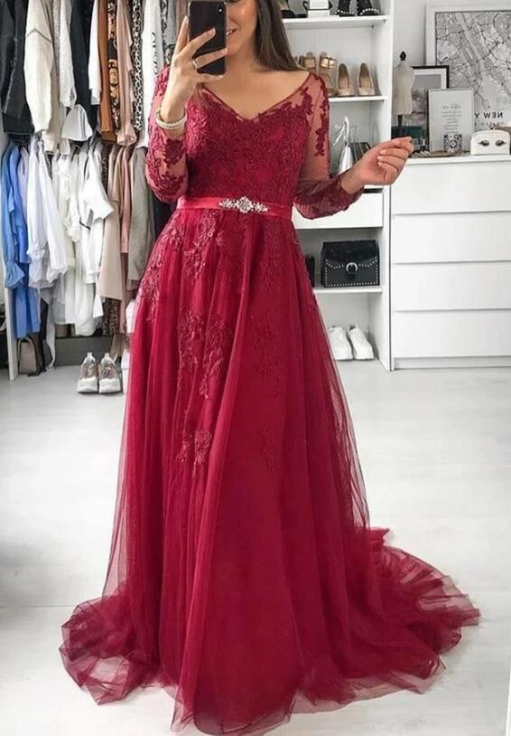 Pretty Wine Red Long Sleeves Party Dress with Lace, Wedding Party Gowns