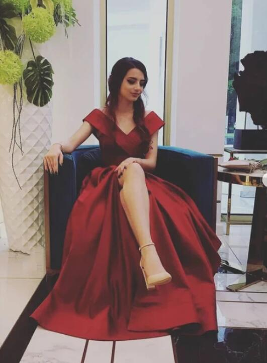 Charming Wine Red Satin Off Shoulder Long Formal Dress, New Prom Dress 2020