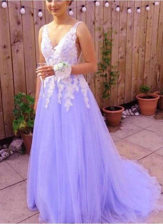 Cute A-line Tulle Long Party Gown with Lace Applique, Long Prom Dress