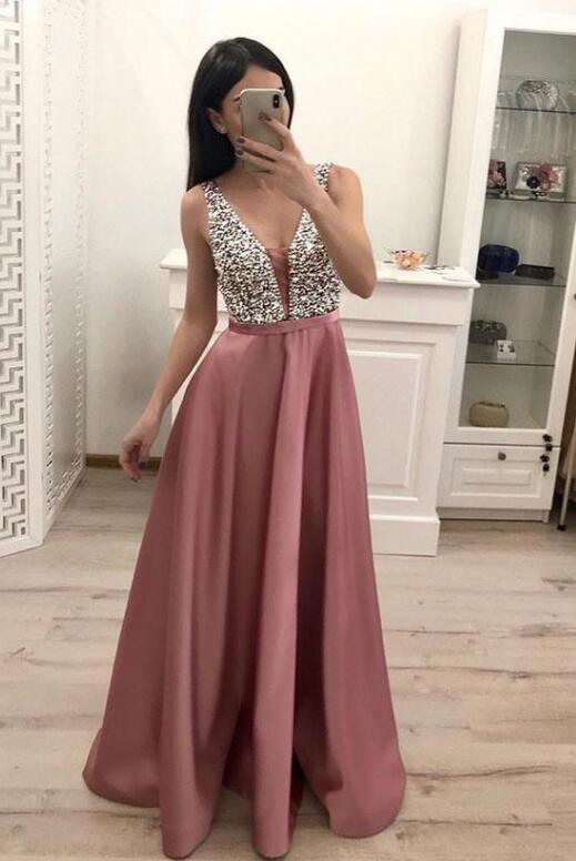 Pretty Pink Satin with Sequins Top Long Prom Dress, A-line Prom Dress 2020