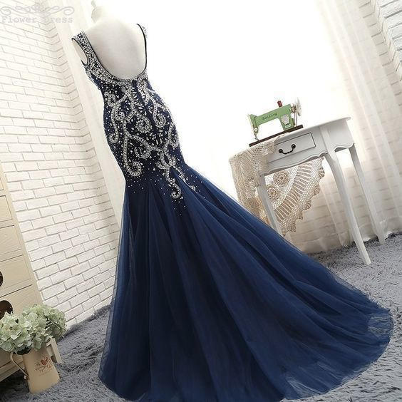 Navy Blue Mermaid Backelss Prom Dresses Evening Dress With Rhinestone For