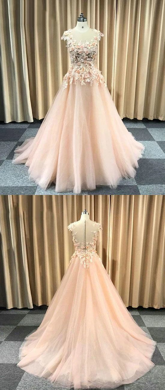 Pretty Flowers Tulle Round Neckline Long Party Dress, Prom Dress 2020