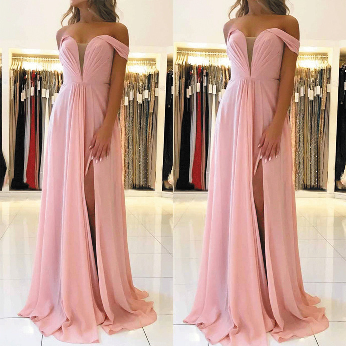 pink chiffon prom dresses long a line cheap elegant off the shoulder prom gown