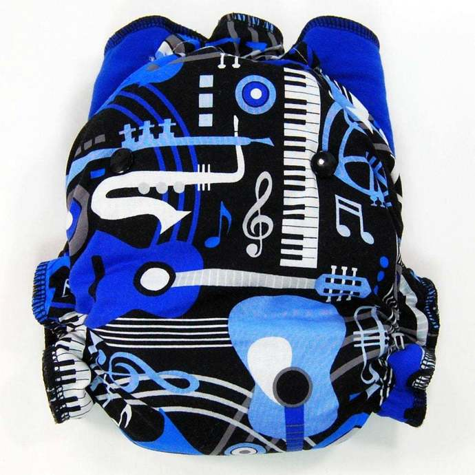 Blue Music - Cloth Diaper or Cover - You Pick Size and Style - Made to Order