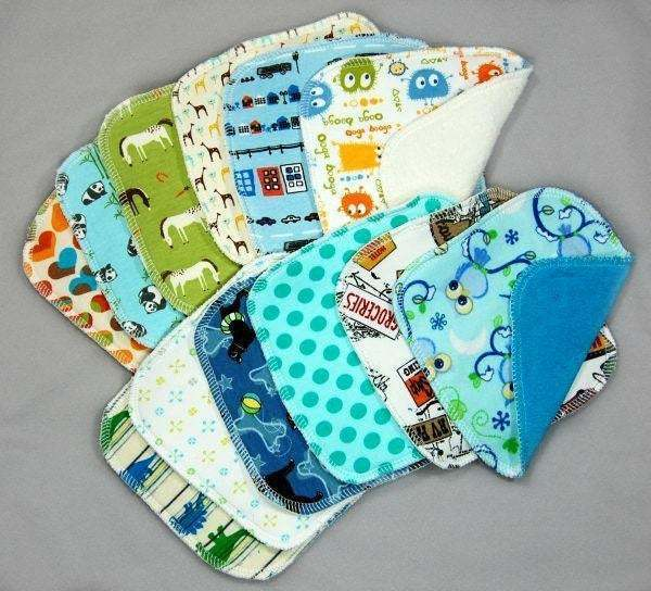 Cloth Diaper Wipes - Assortment of 12 - One Dozen, Assorted - Variety - Set of