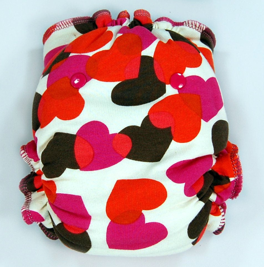 Ready to Ship One Size Cloth Diaper -  Falling Hearts - WindPro AI2 - Heart Camo