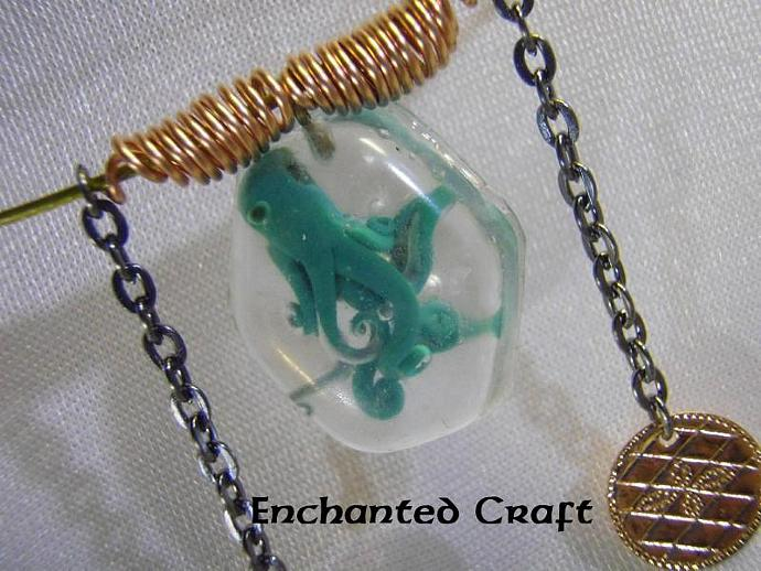 Captured aqua octopus necklace