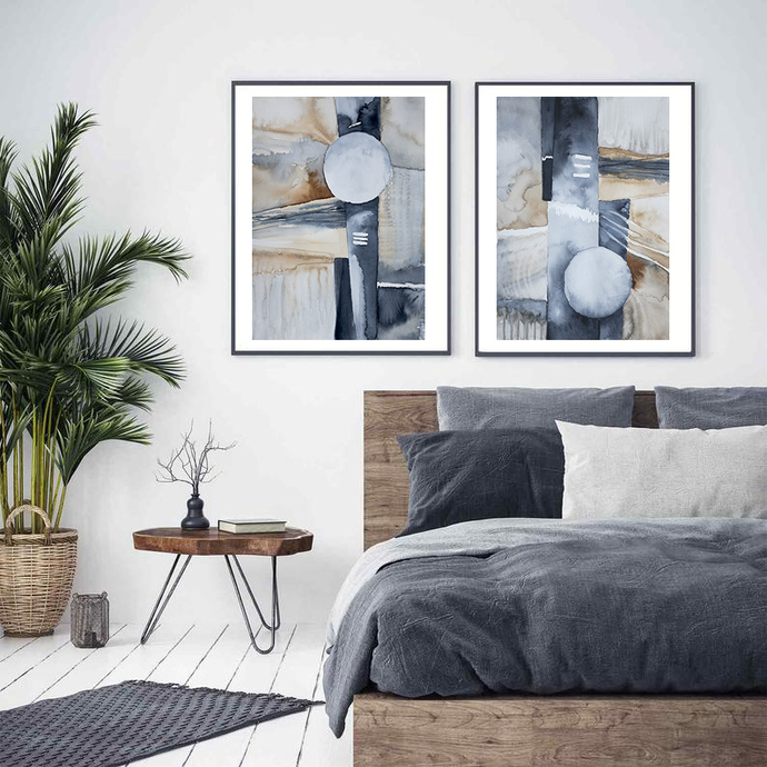 Printable Abstract Art, Modern Abstract Watercolor Print, Navy beige set of 2