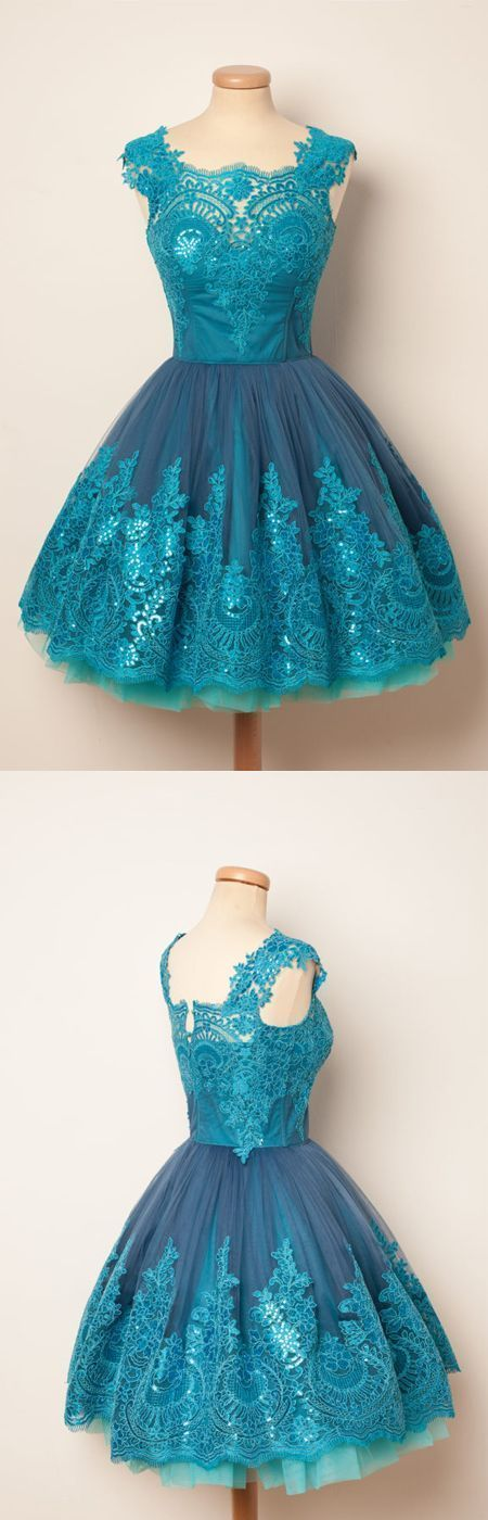 Charming A-Line Round Neck Blue Tulle Short Homecoming Dress   ML5528