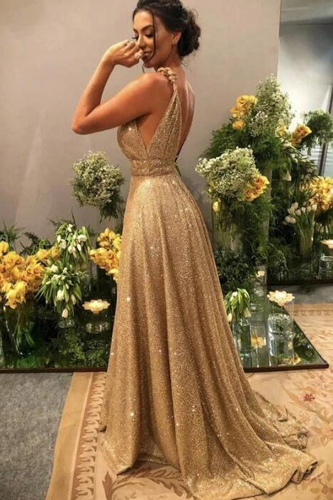 Gold V Neck Sequins Formal Dresses, A Line Sleeveless Sparkly Sweep Train Prom