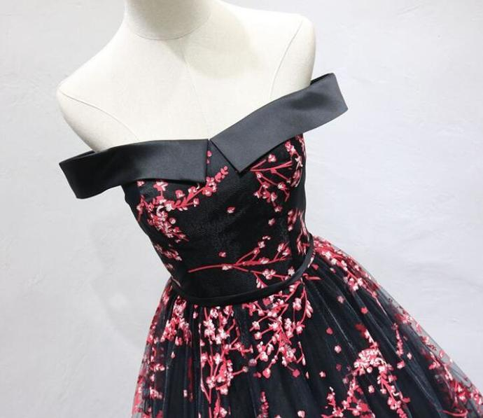 Beautiful Long A-line Black Prom Dress, Off Shoulder Party Dress