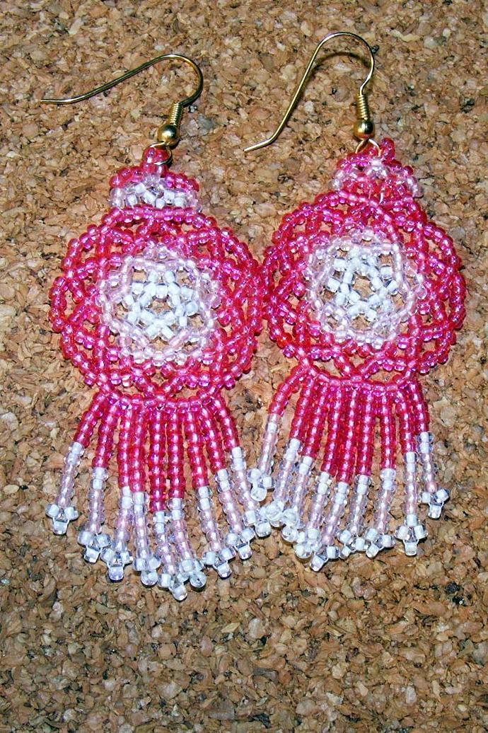 Think Pink Mandala Shield Earrings