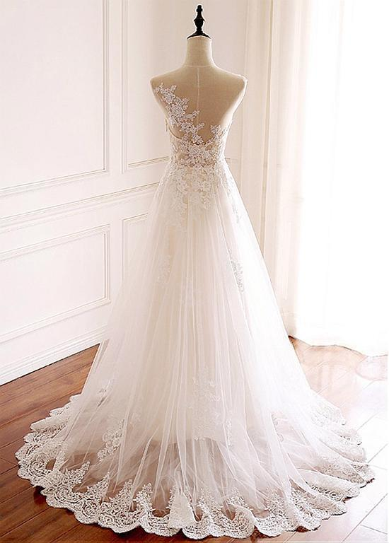 Charming White Tulle Full-length A-line Wedding With Lace Appliques, Bridal Gown
