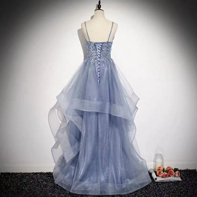 Pretty Blue Spaghetti Straps Long Party Dress, A-line Prom Dress 2020