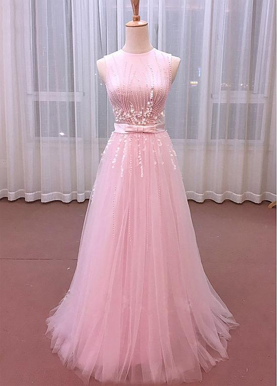 Charming A-line Tulle Jewel Neckline Floor-length Prom Dresses With Bowknot,