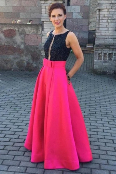 Black Top Red Skirt Long Satin Beading A-line Pretty Party Dresses Prom Dresses