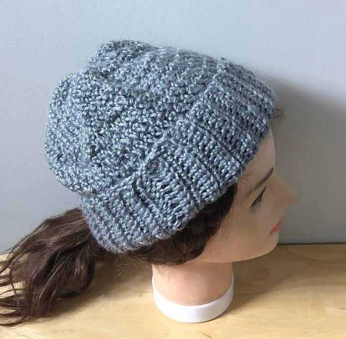 Grey Handmade crochet ribbed Hat.