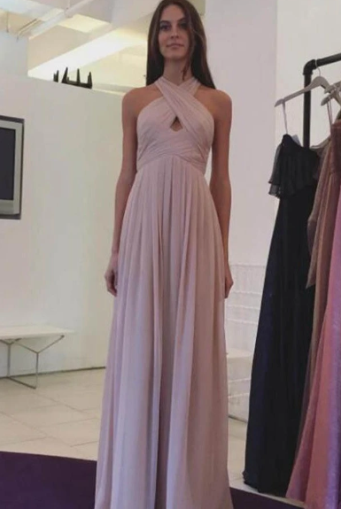 Pink Chiffon Long A-line Halter Simple Cheap Elegant Prom Dresses