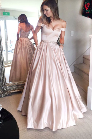 A Line Pink Burgundy Prom Dresses With Pockets, Long Evening Party Dresses