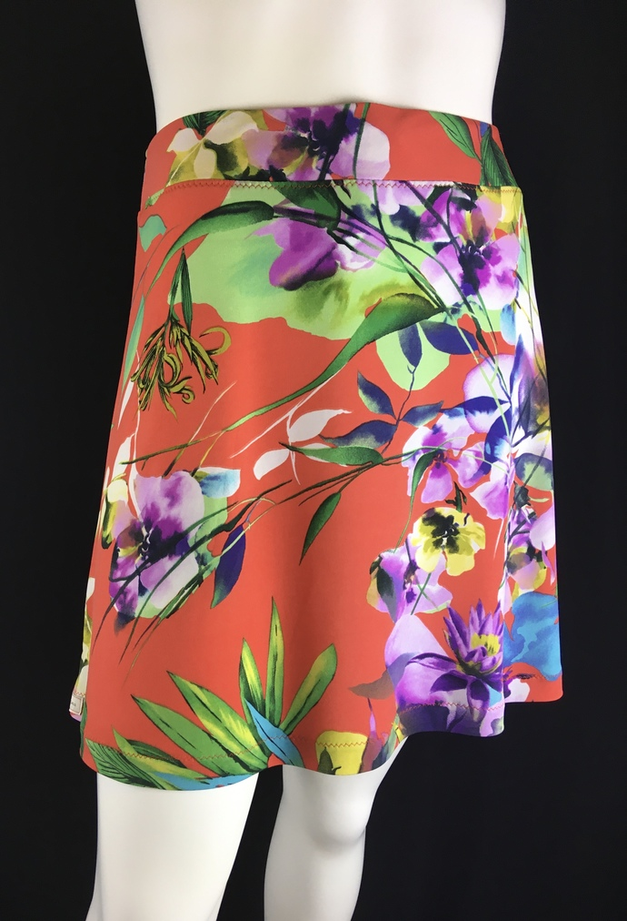 NEW 2020 Coral Floral Silky Skirt with Vibrant Colors Hidden Adjustable Tie