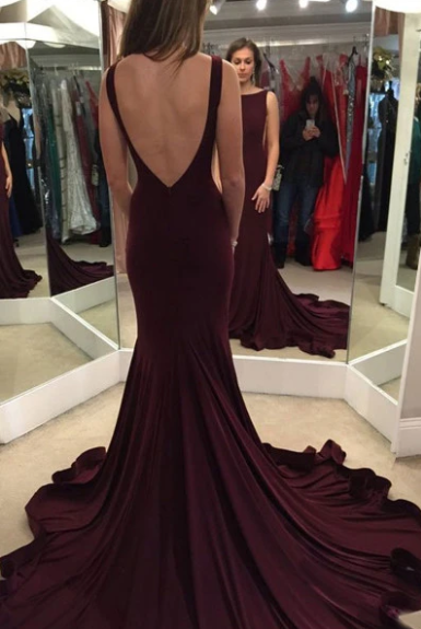 Elegant Mermaid Burgundy Sweep Train Prom Dress