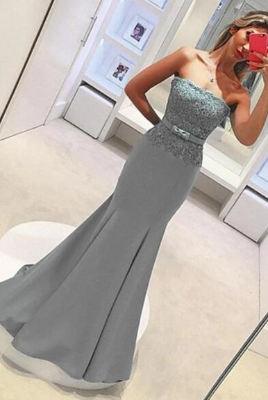 Strapless Lace Satin Elegant Sheath Long Mermaid Simple Prom Dresses