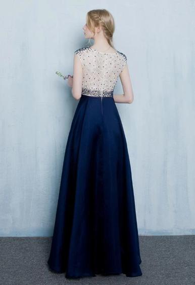 Beautiful Dark Blue Long Beading Zipper Back Prom Dresses