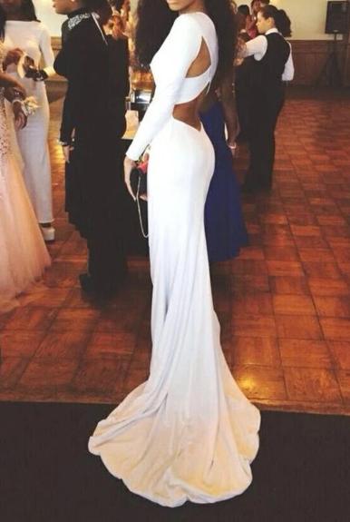 Long Sleeves White Mermaid Long Simple High Quality Cheap Prom Dresses