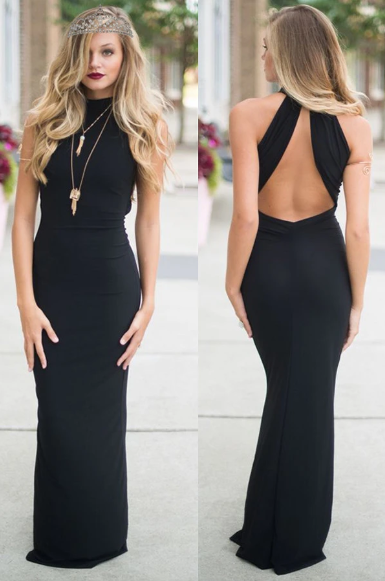 Simple Sexy Long Black Open Back High Neck Sheath Prom Dresses