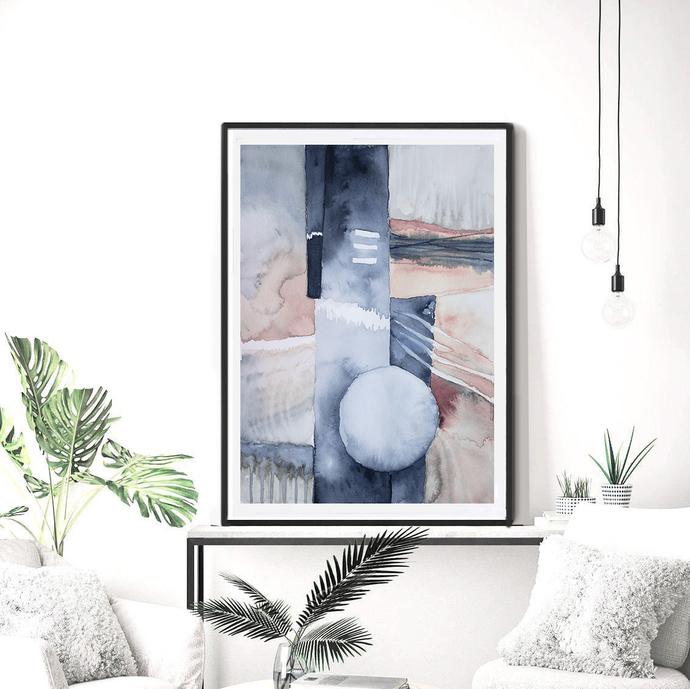 Wall Art Print, Printable Art Watercolor , Art Poster, modern abstract, navy and