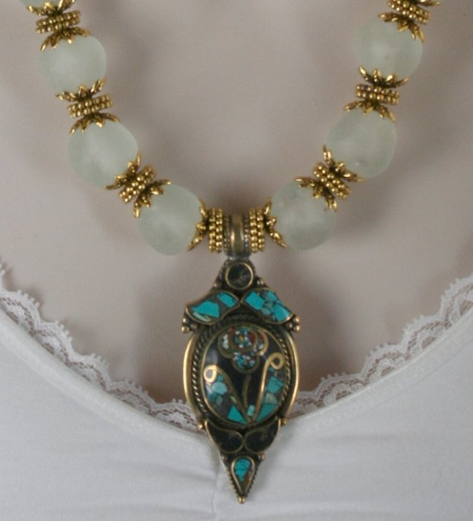 African Recycled Clear Glass Statement Necklace, Inlaid Nepalese Turquoise Brass