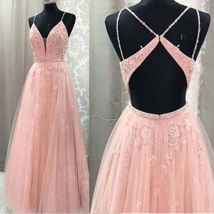 Pink Prom Dress,Tulle Prom Gown,Appliques Evening Dress,Backless Prom Gown 0130