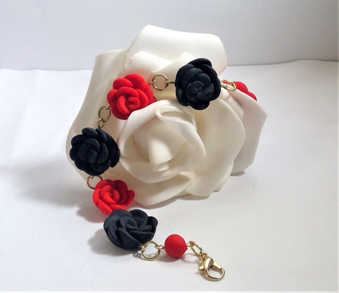 Women's Flower Bracelet Red Pink Black Hand Formed Flowers Valintines Day Gift