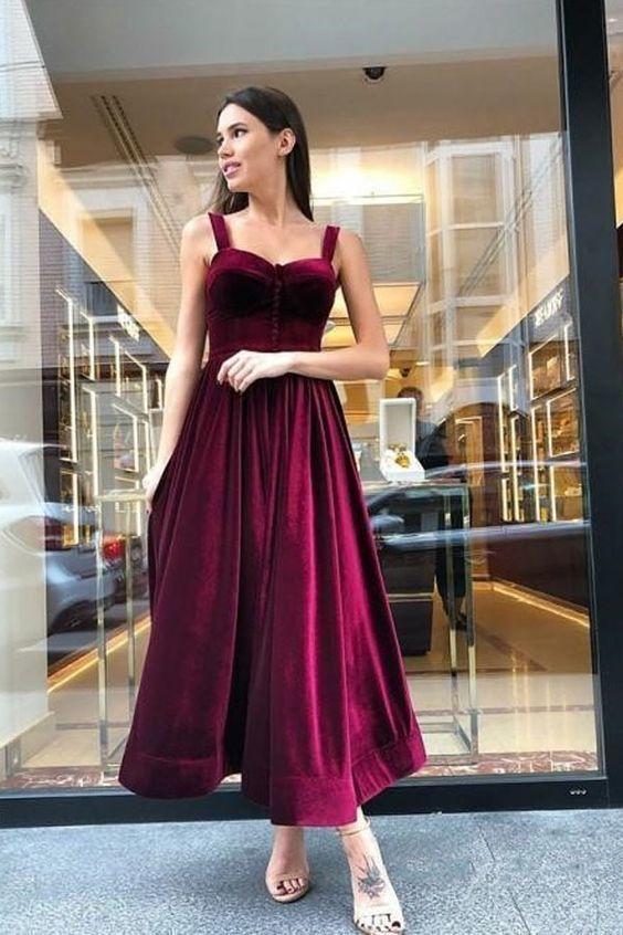 Vintage A-Line Spaghetti Straps Burgundy Velvet Prom Dresses 1848