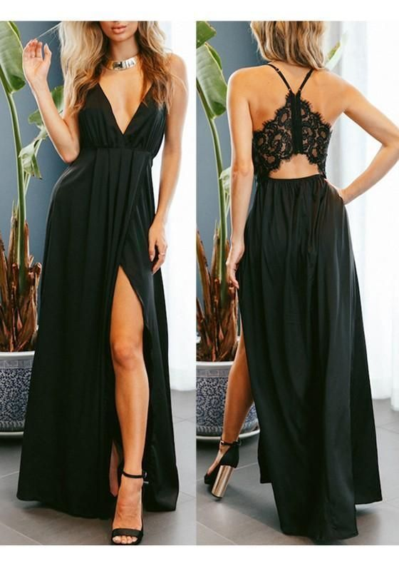 Black Lace Slit Spaghetti Strap Backless prom gown 1849