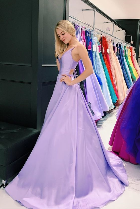 pretty lilac long prom dresses, simple a line prom gowns, cheap prom dresses for