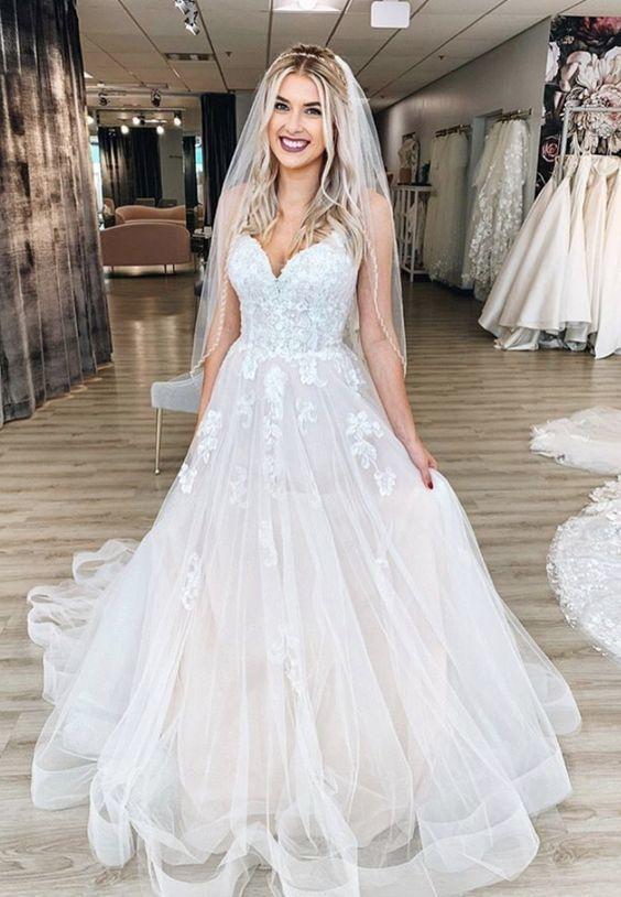 Stylish tulle lace long prom dress formal dress 1859