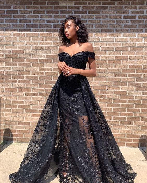 Black Prom Dress, Beading Prom Gown, Lace Prom Dress, Off the Shoulder Prom Gown