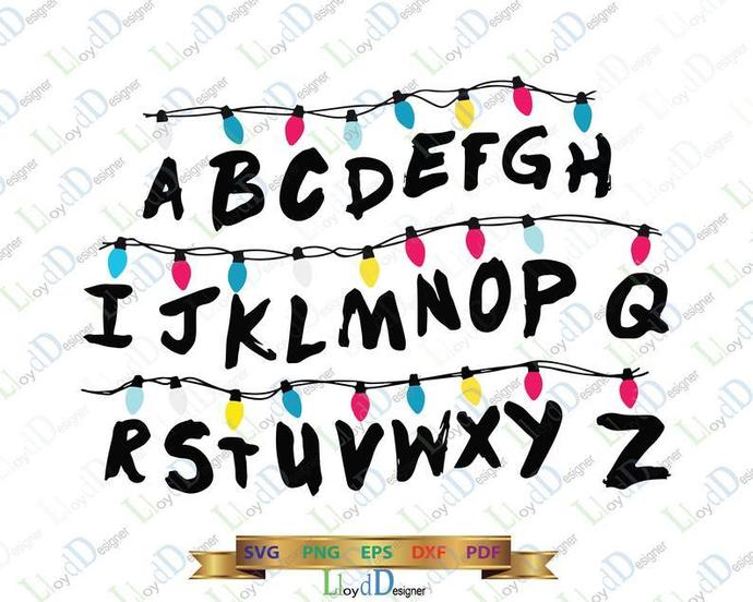 Stranger things Lights Alphabet SVG Stranger things Alphabet Light Letters decor