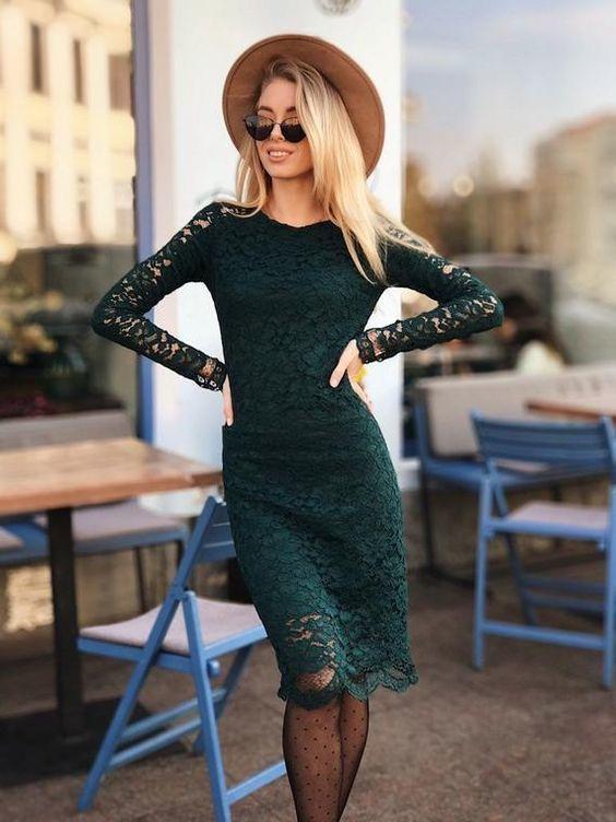Dark green dress,Lace Midi Dress