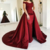 Elegant Sheath Satin Burgundy Long Train Off Shoulder Prom Dresses