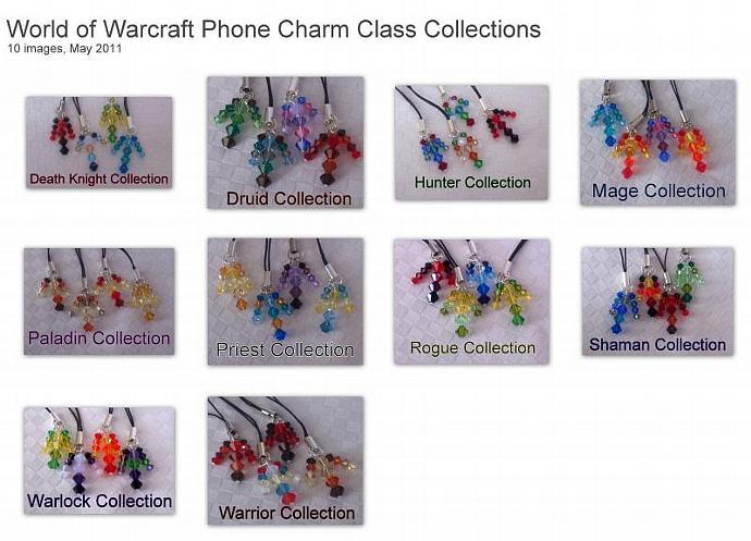 Swarovski Crystal World of Warcraft Inspired Phone Tag Set - Warlock