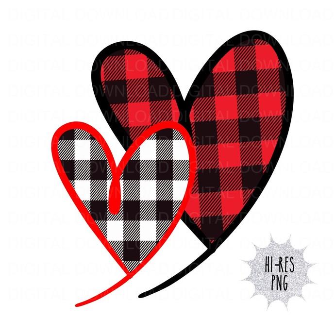 Buffalo Plaid Handrawn Heart Digital Download PNG