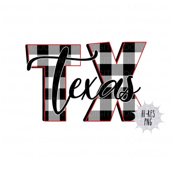 Buffalo Plaid TX Texas Digital Download PNG