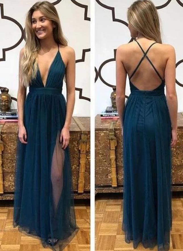 Deep V-neck Sexy Long Prom Dress Custom Made Formal Dress Fashion Winter Dance