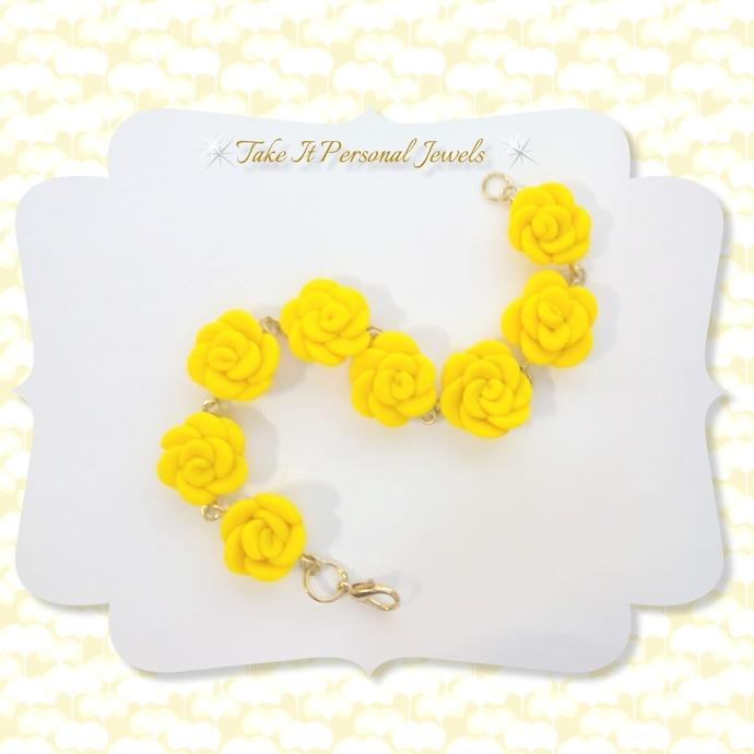 Yellow Flower Handmade Bracelet Polymer Clay Creation